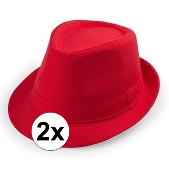 2x Rood trilby verkleed hoedjes voor volwassenen