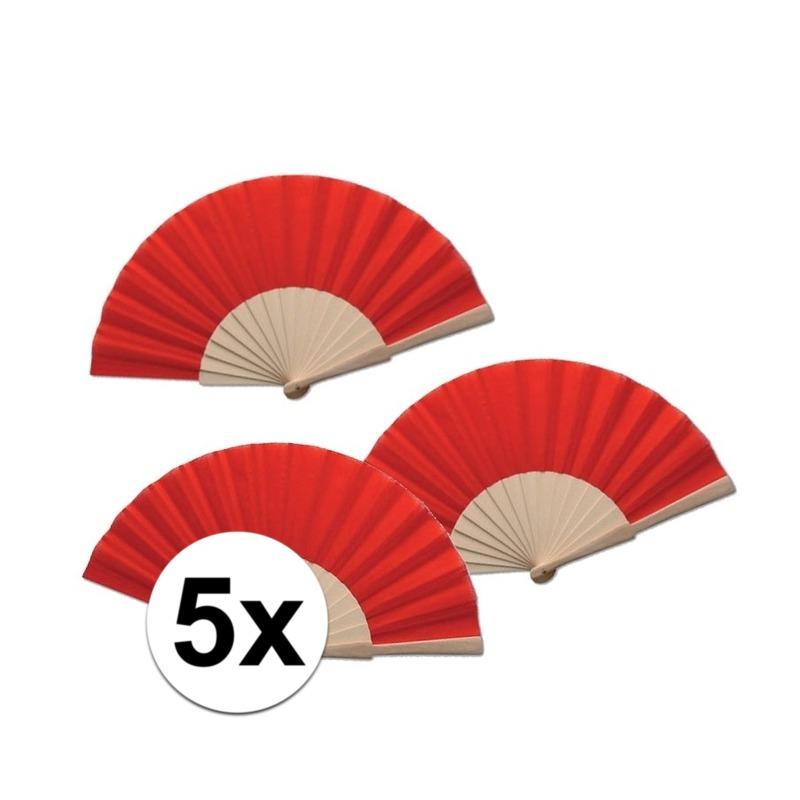 5 stuks zomerse Spaanse waaier rood