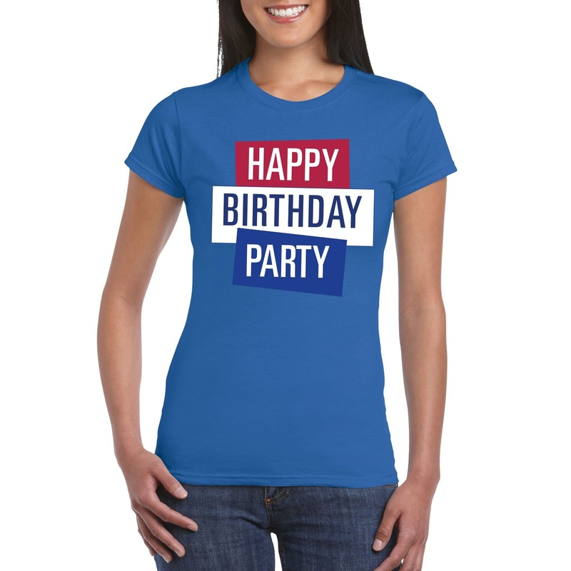 Blauw Toppers Happy Birthday party dames t-shirt officieel