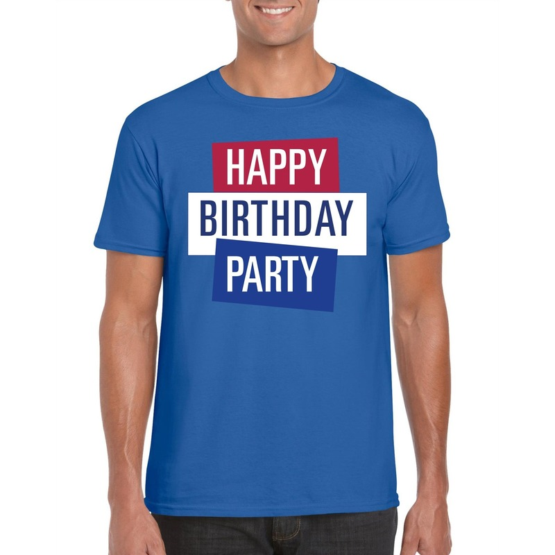 Blauw Toppers Happy Birthday party heren t-shirt officieel