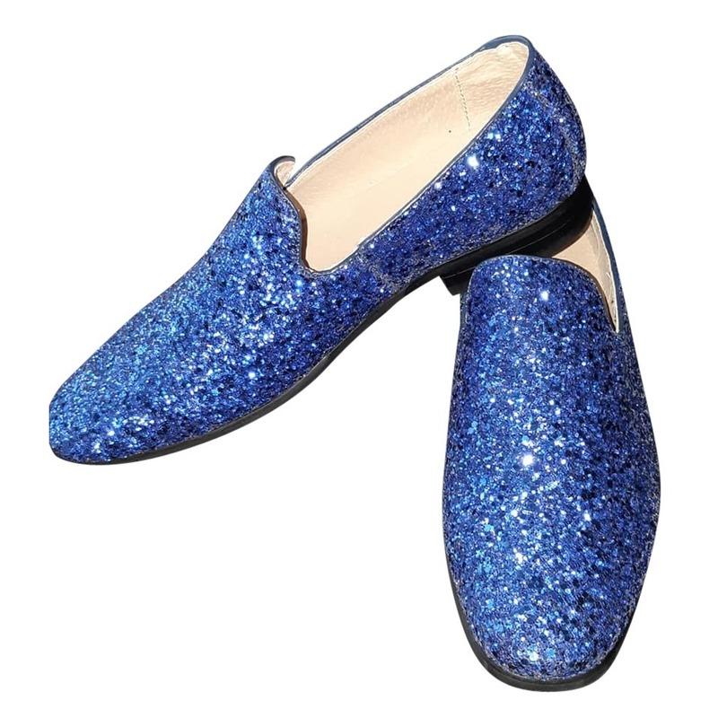 Blauwe glitter disco instap schoenen voor heren