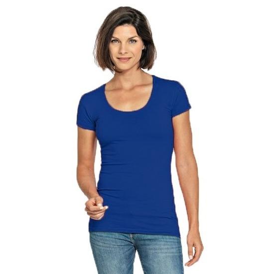 Bodyfit kobalt dames t-shirt
