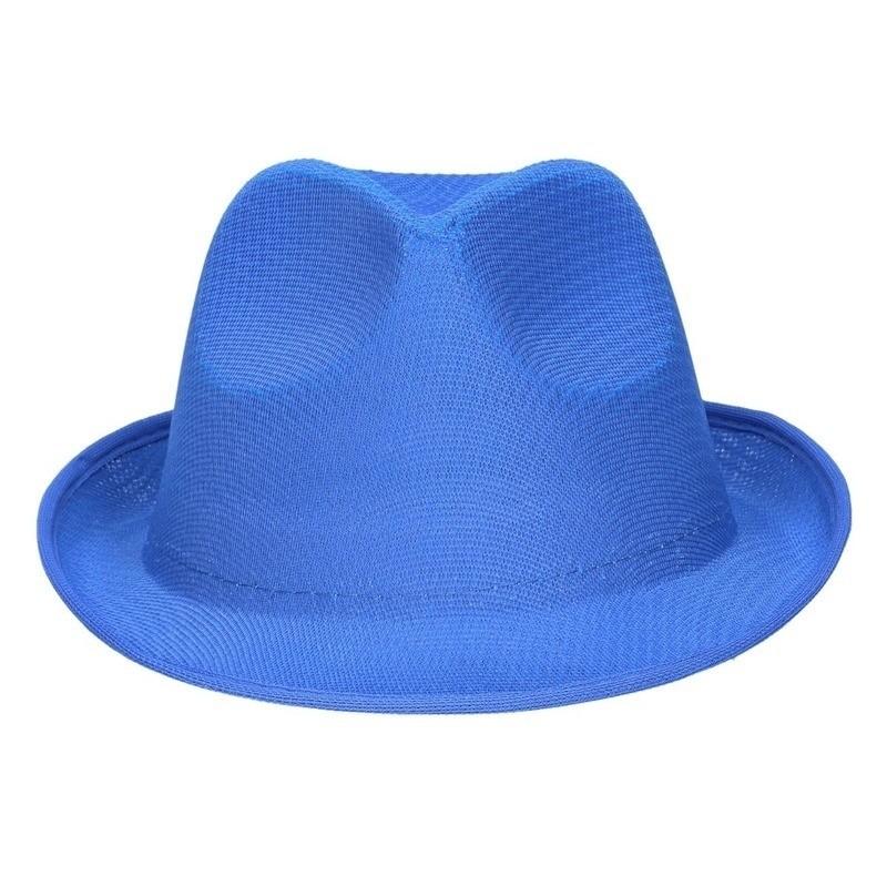 Feest/verkleed trilby hoedje/gleufhoed blauw