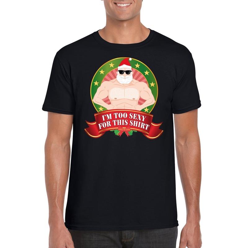 1887eed1b46 Foute Kerst t-shirt zwart Im too sexy for this shirt heren - de ...
