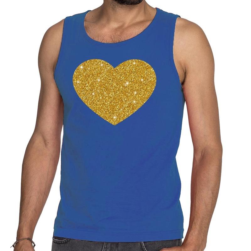 Gouden hart glitter tanktop / mouwloos shirt blauw heren