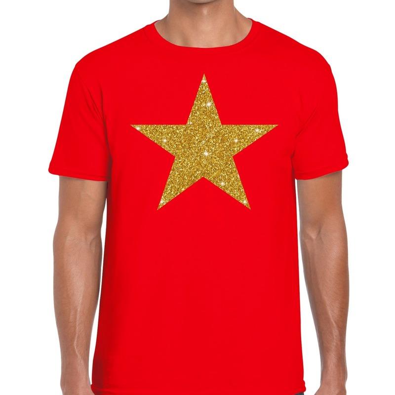 Gouden Ster glitter fun t-shirt rood heren