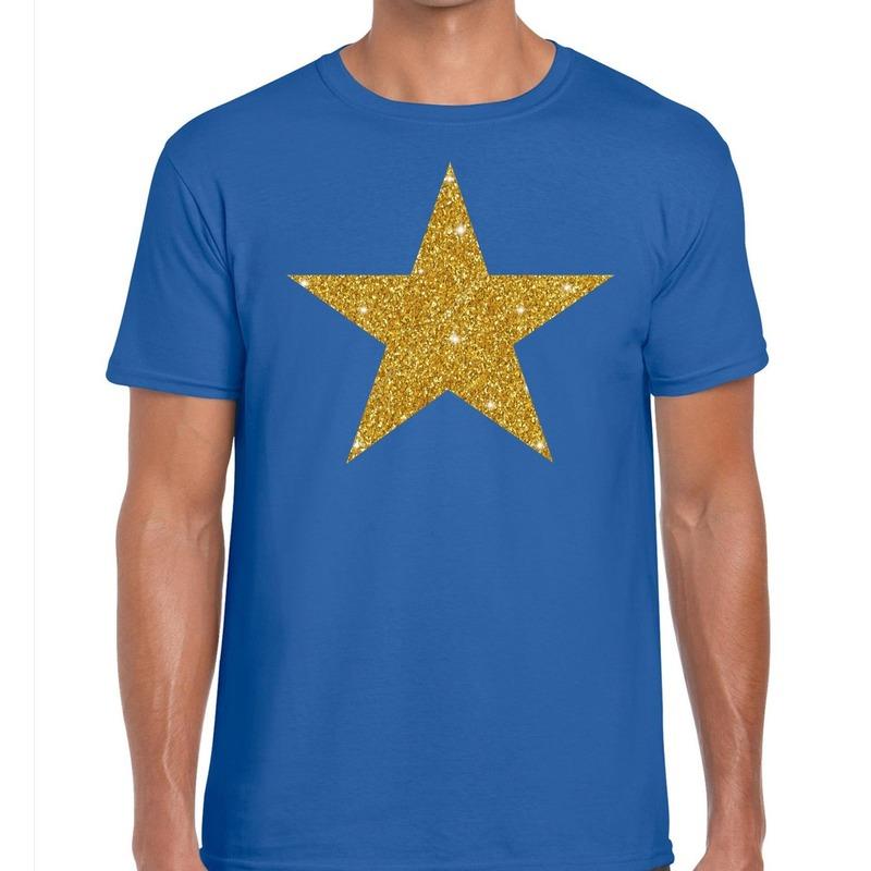 Gouden ster glitter fun t t-shirt blauw heren