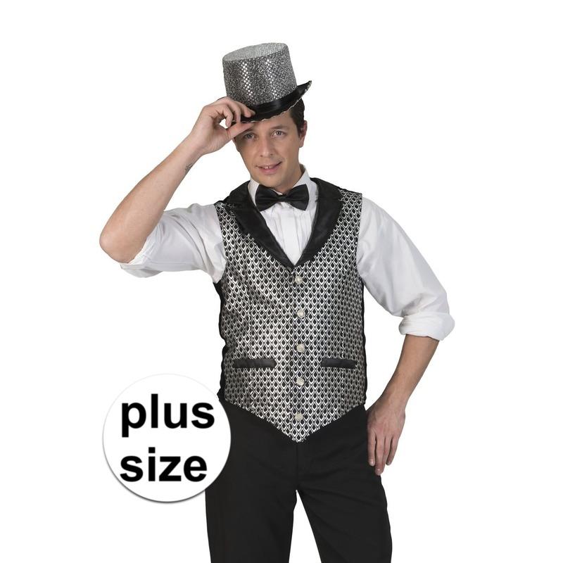 Grote maat zilver/zwart verkleed gilet voor heren