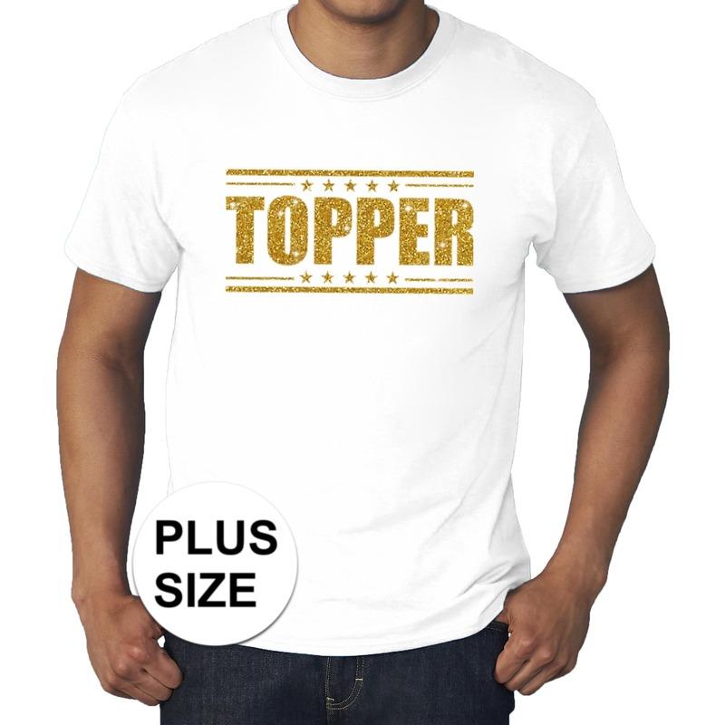 Grote maten Topper shirt wit met gouden glitters heren