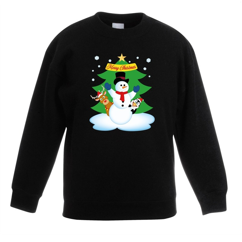 Kersttrui Voor Kinderen.Kersttrui Sneeuwpop En Vriendjes Zwart Kinderen De Officiele