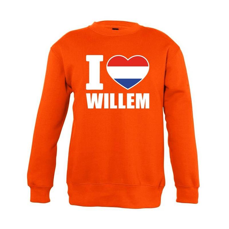 c6c42409bf2027 Oranje I love Willem sweater kinderen - de officiële Toppers in ...
