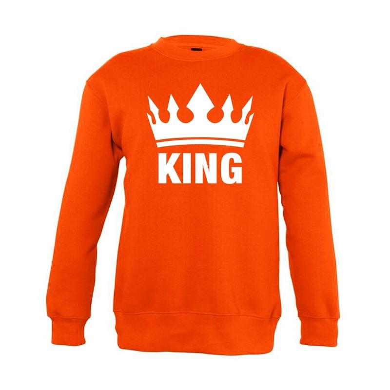 Gouden Glitter Trui.Oranje Koningsdag King Sweater Kinderen De Officiele Toppers In