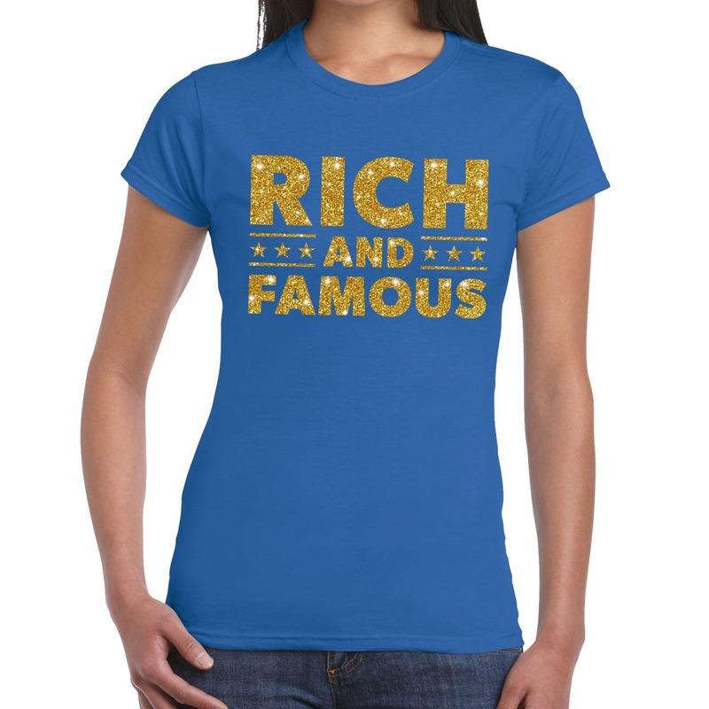 Rich and Famous goud glitter tekst t-shirt blauw dames