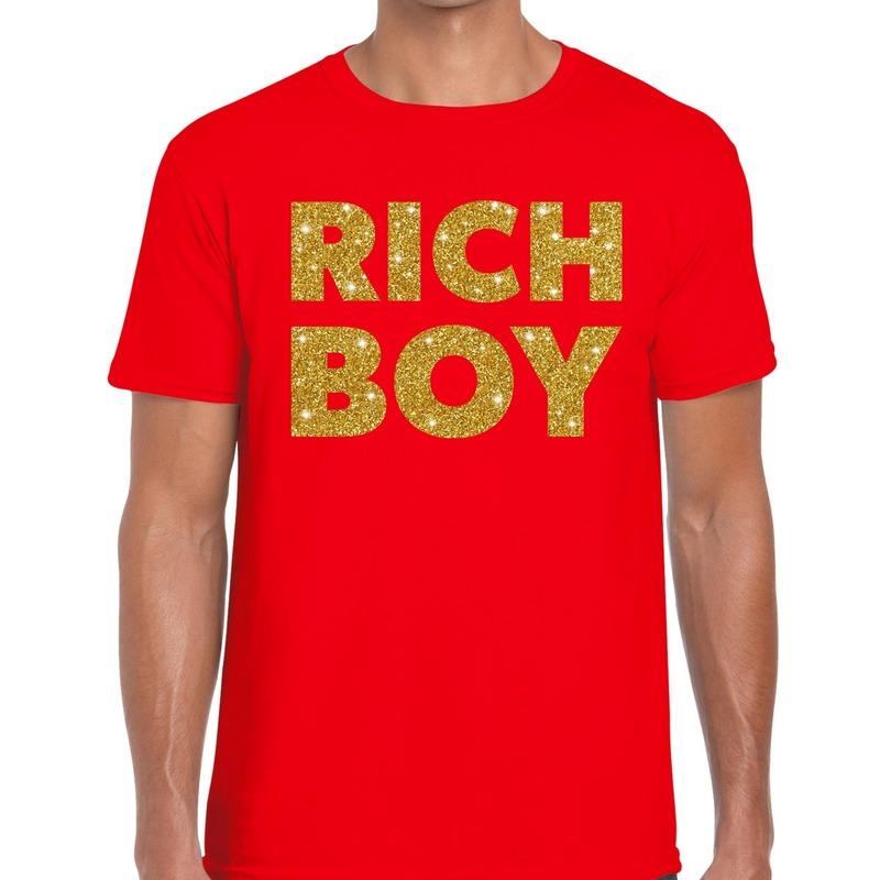 Rich boy goud glitter tekst t-shirt rood heren