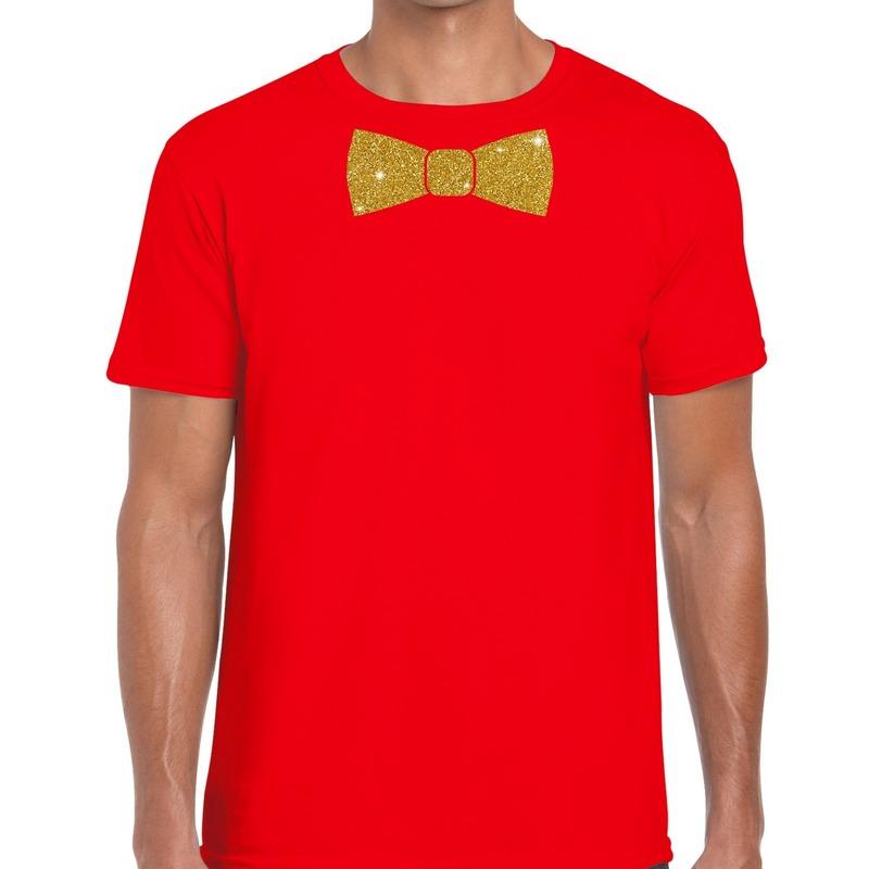 Rood fun t-shirt met vlinderdas in glitter goud heren
