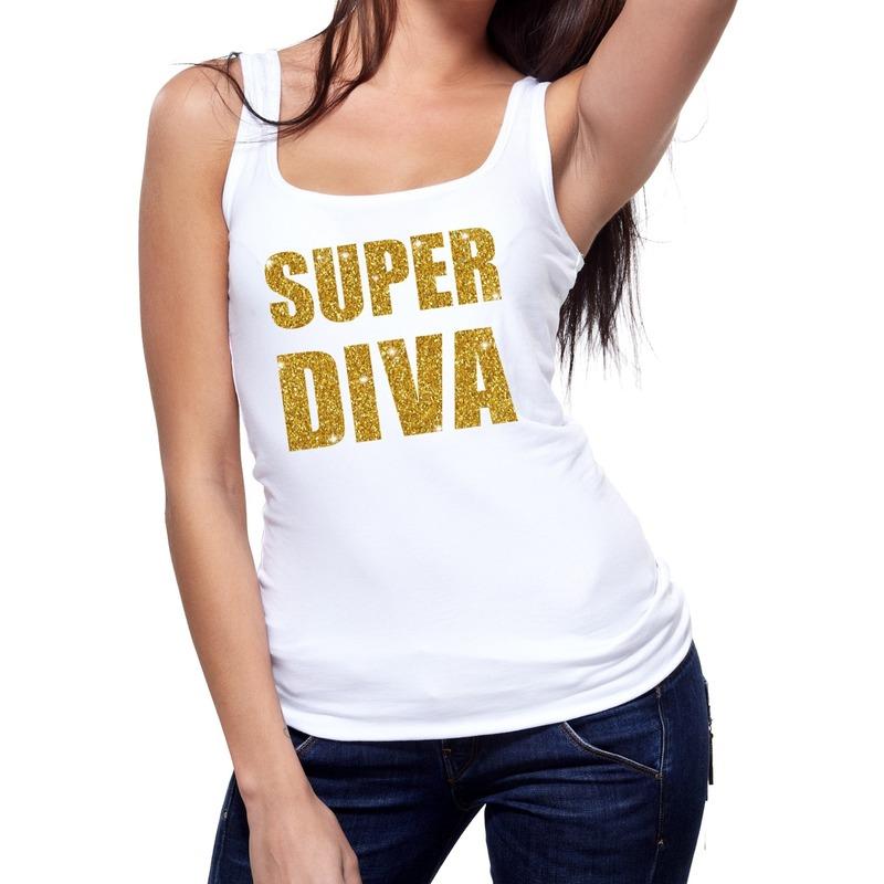 Super Diva glitter tanktop / mouwloos shirt wit dames
