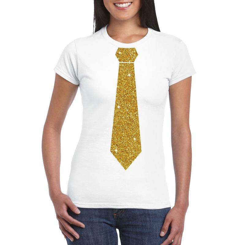 Wit fun t-shirt met stropdas in glitter goud dames