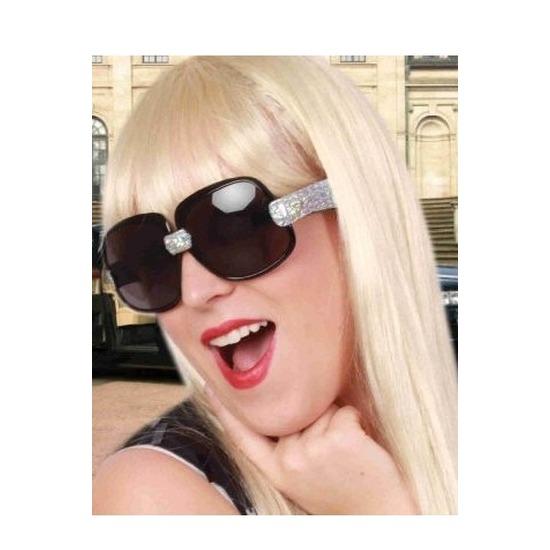 Zwarte zonnebril/feestbril met zilveren glitters voor dames